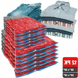 12 Travel Roll Up Compression Vacuum Storage Bags Space Save