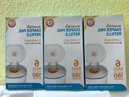 3 Boxes of 6 Count Munchkin Arm & Hammer Diaper Pail Refill