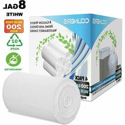 CCLINERS 8 Gallon White Garbage Trash Bags, 200 Count