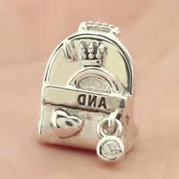 925 Sterling Silver Adventure Bag Clear CZ Charm Signature F
