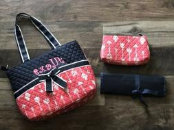 Alexa name 3 in 1 Diaper Bag Set Coral Pink Navy Embroidered