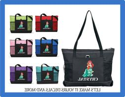ariel mermaid personalized name tote purse sports