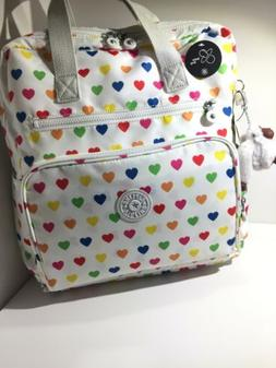 Kipling backpack BP3898 Audrie 1CK Wild Hearts White NWT! Be