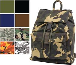 Canvas Military Day Pack Camo Backpack Army Knapsack Rucksac