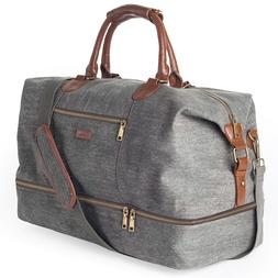 Canvas Travel Tote Luggage Men's Weekender Duffle Bag with S