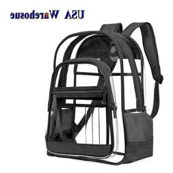 Clear Backpack for School Work Travel Heavy Duty Transparent