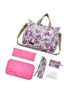 Flower Diaper Tote Bag Set for Girls with Changing Pad and S