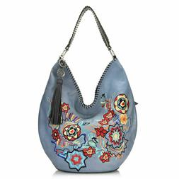 """Firenze Bella """"Garbo"""" Floral Embroidered Leather Hobo Bag w/"""