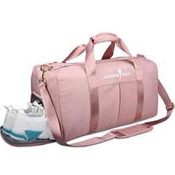 Gym Duffle Bag with Shoe Compartment and Wet Pocket for Wome