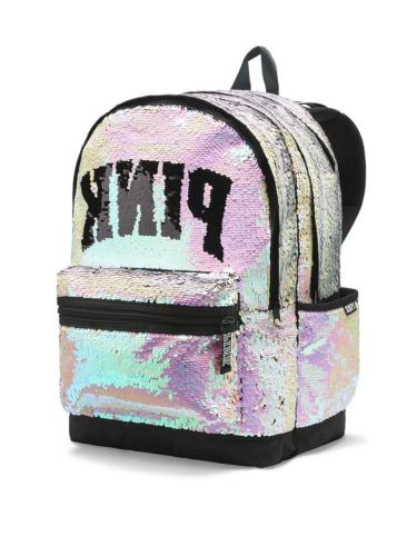 Bling Campus Backpack Silver Gold Full Sequined Zipper Schoo