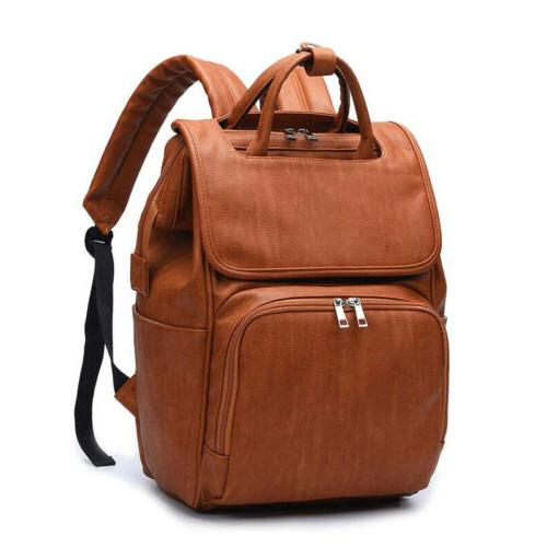 Faux Leather Diaper Backpack, Travel Bags Changing