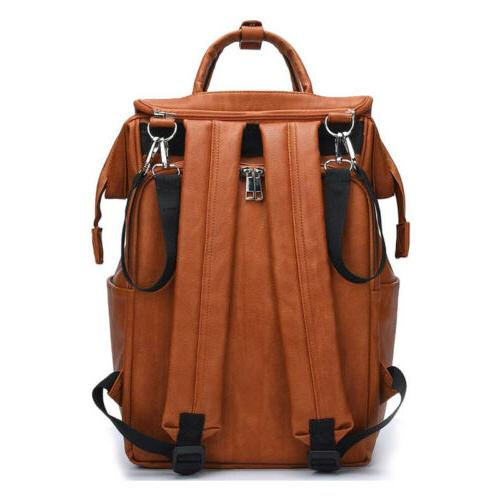 Faux Leather Diaper Backpack, Baby Nappy Travel Pad