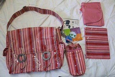 coated double buckle diaper bag pink stripes