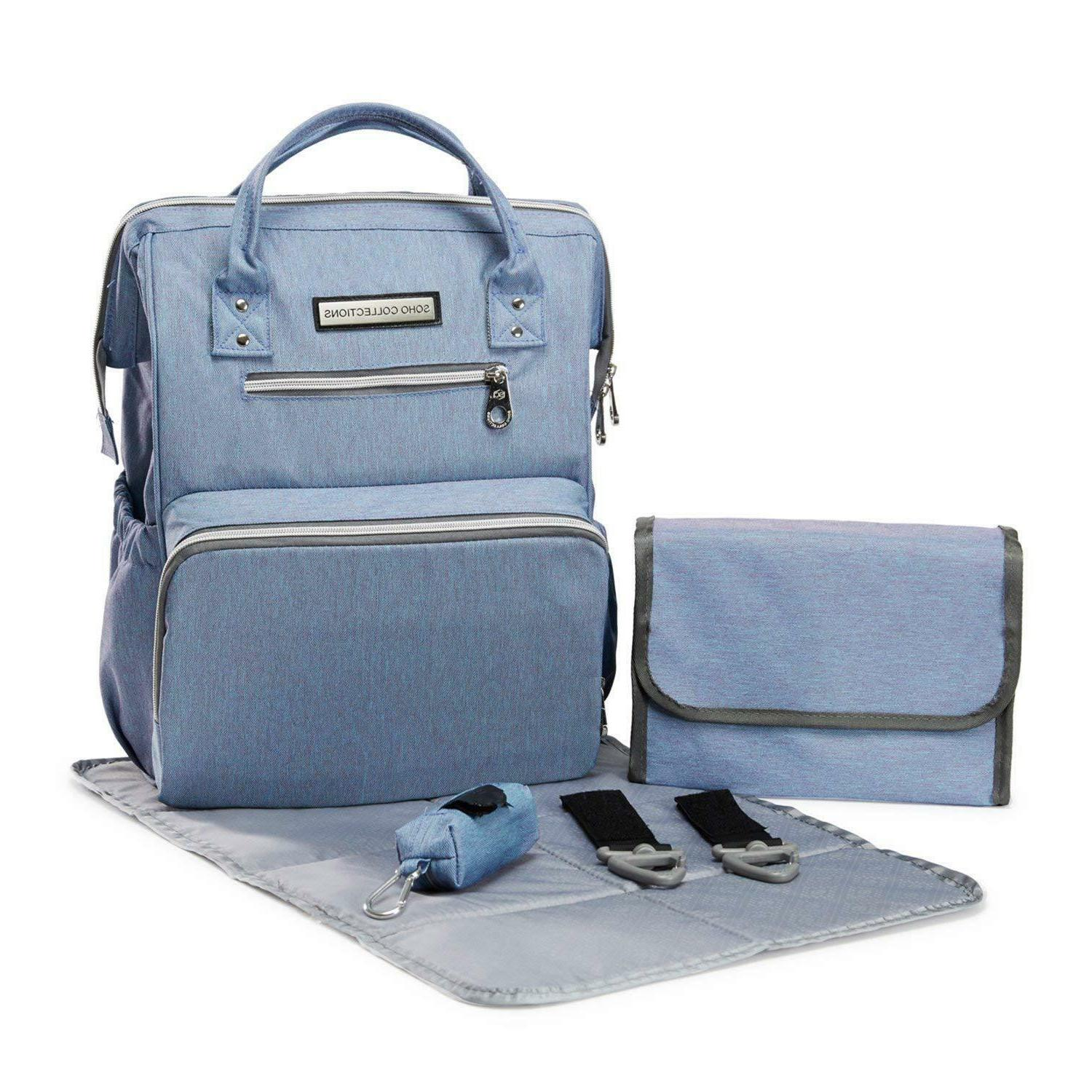 diaper bag backpack wide opening 6 piece