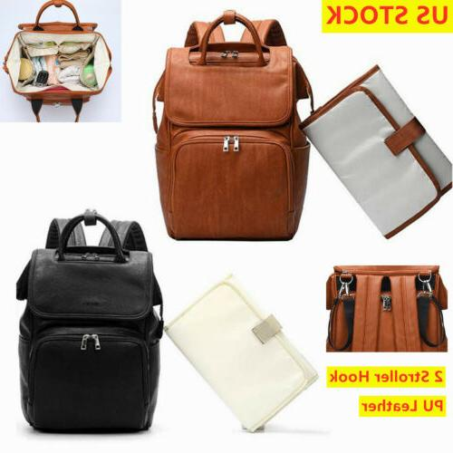 faux leather pu mummy diaper backpack baby