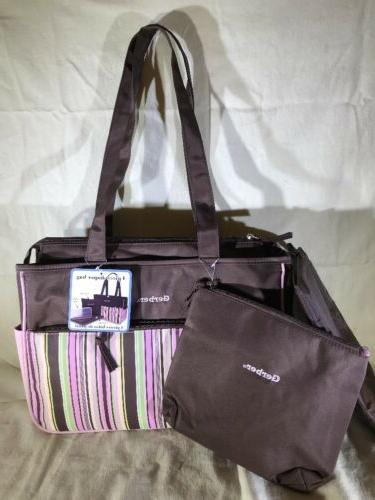 nwt pink brown four piece diaper bag