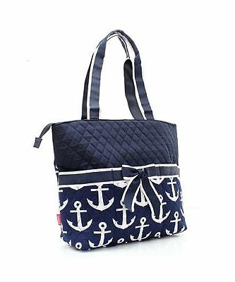 Quilted Navy And White Nautical Monogrammable 3 Piece