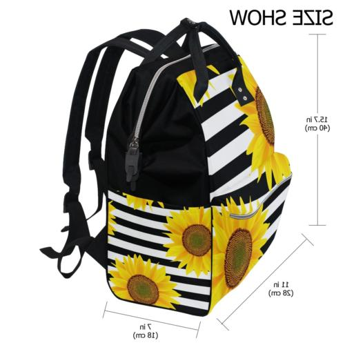ALAZA Sunflowers Stripes Diaper Bags Backpack