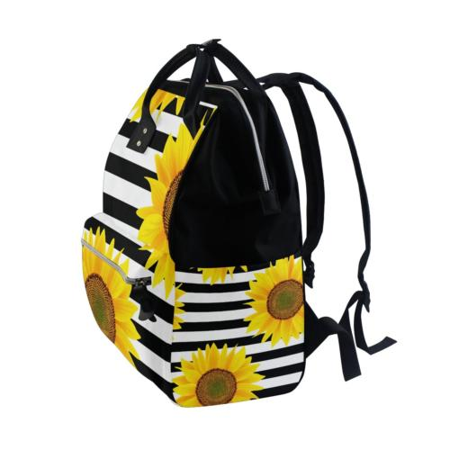 ALAZA Sunflowers On Stripes Backpack Multi