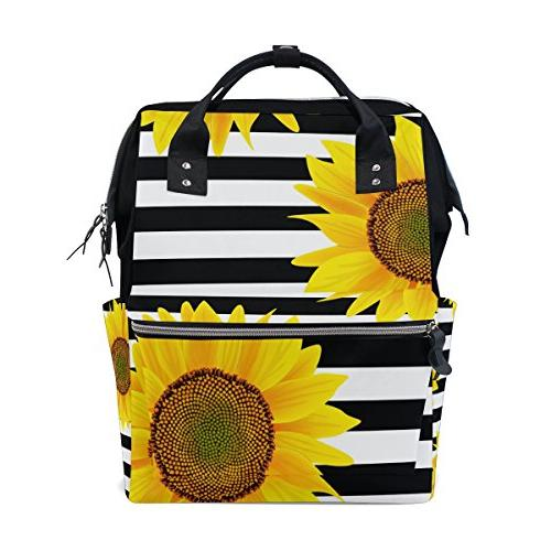 ALAZA Sunflowers Zigzag Stripes Diaper Backpack Large Capacity Nappy Bag for Baby Care for Traveling