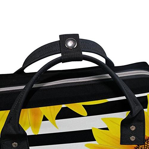 ALAZA Stripes Diaper Bags Mummy Backpack Multi Capacity Nappy Bag for for