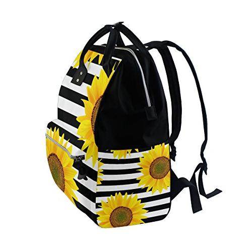ALAZA Sunflowers On Zigzag Stripes Bags Mummy Capacity Nappy Bag Bag Baby for Traveling