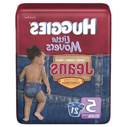 Huggies Little Movers Diapers, Jeans, Size 5 , Jumbo