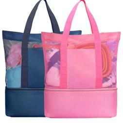 Luxspire Mesh Beach Bag w/ Insulated Picnic Cooler Tote Bag
