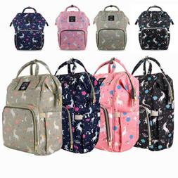 LEQUEEN Mommy Unicorn Diaper Bag Backpack Maternity Nappy +