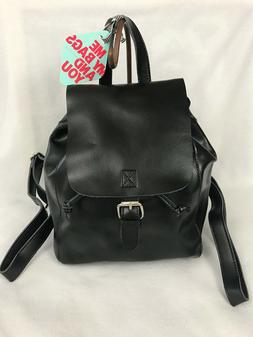 New Co-Lab Christopher Kon Black Leather Flap Over Drawstrin