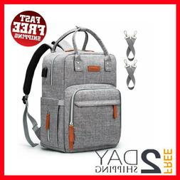 NEW Diaper Bag Backpack with USB Charging Port and Stroller