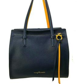 New w/Tag ~$1400 SALVATORE FERRAGAMO Tote Bag. Navy Blue/Yel
