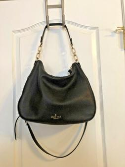 NWOT KATE SPADE WOMANS BLACK PEBBLED LEATHER SHOULDER CROSSB