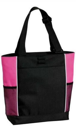 Port Authority Panel Tote Bag; Red and Black; Pink and Black