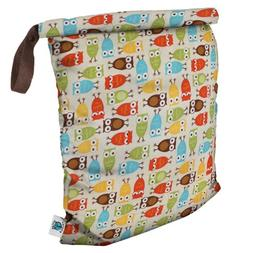 Planet Wise Roll Down Wet Diaper Bag, Owl, Large