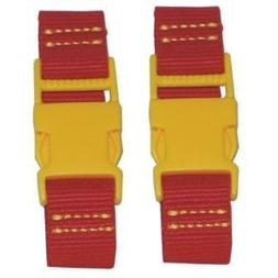 """Kalencom 4.25"""" Stroller Straps - Red with Yellow Clips"""