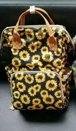 SUNFLOWER DIAPER BAG BACKPACK NAPPY NEW MULTI USE OVER NIGHT
