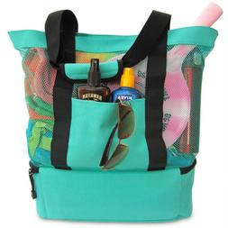 Multi-Layer Mesh Beach Tote Bag Insulated Cooler Compartment