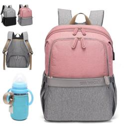 USB Baby Diaper Bag Nappy Changing Backpack Bottle Warmer +