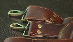 Brown Distressed Leather Replacement Shoulder Strap - Luggag